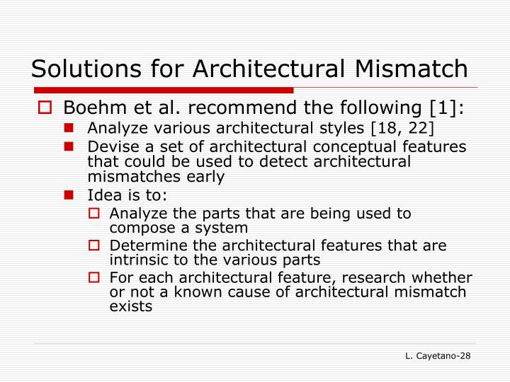Solutions for Architectural Mismatch