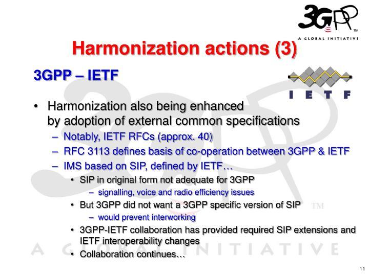 Harmonization actions (3)