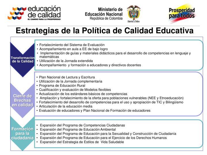 Estrategias de la Política de Calidad Educativa