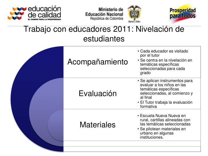 Trabajo con educadores 2011: Nivelación de estudiantes