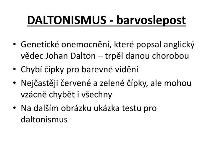 DALTONISMUS - barvoslepost