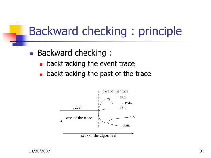 Backward checking : principle