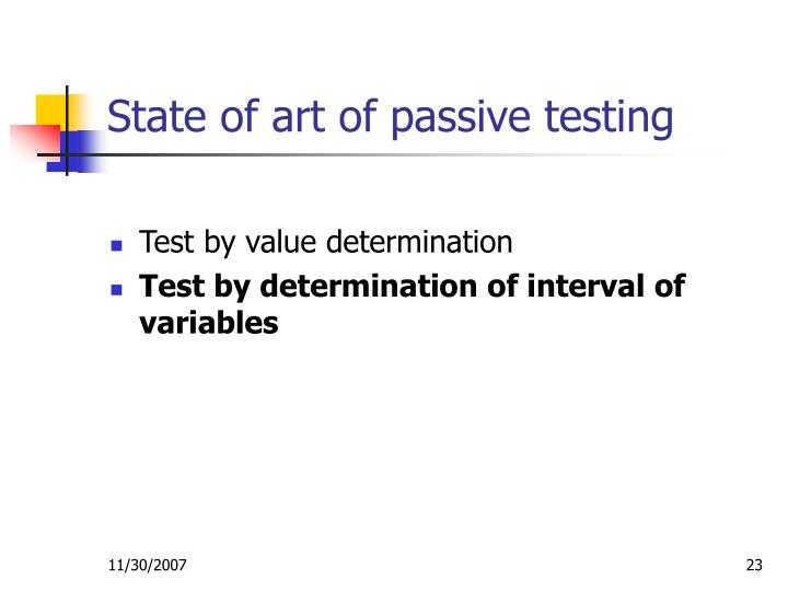 State of art of passive testing