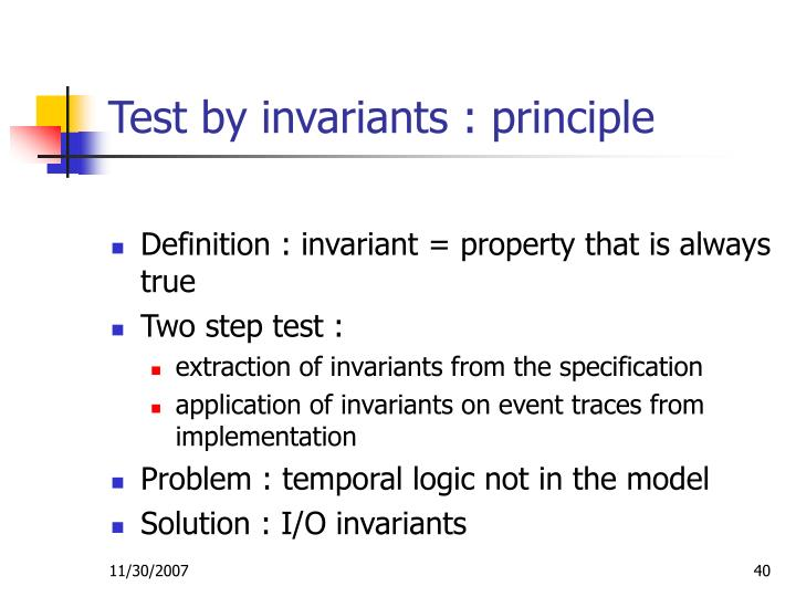 Test by invariants : principle