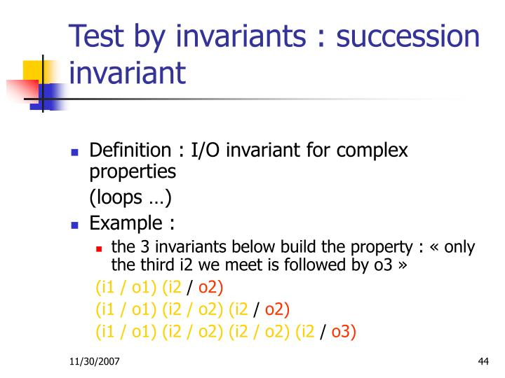 Test by invariants : succession invariant