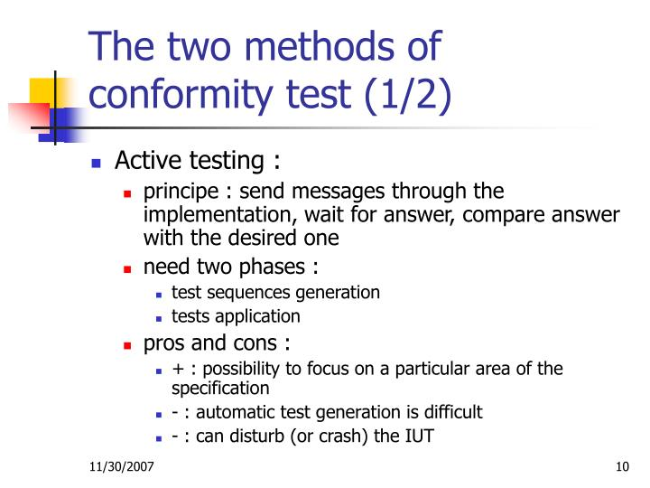 The two methods of conformity test (1/2)