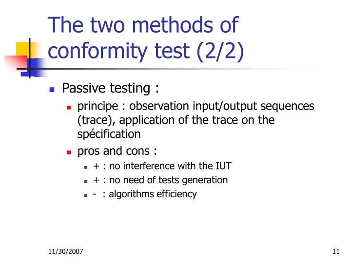 The two methods of conformity test (2/2)