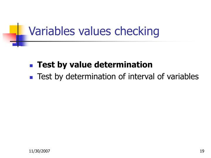 Variables values checking