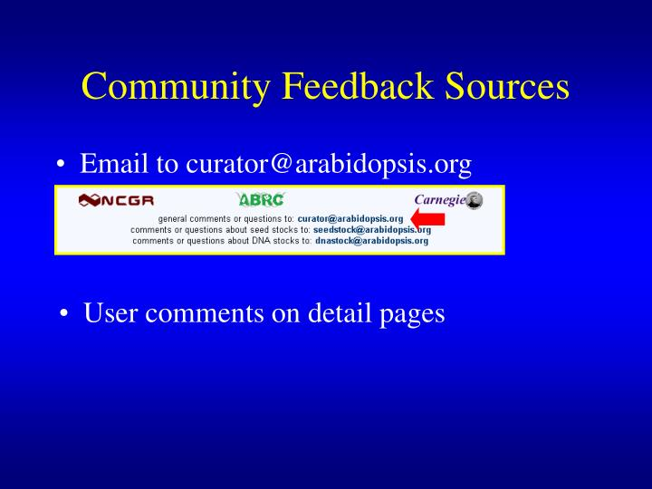 Community Feedback Sources