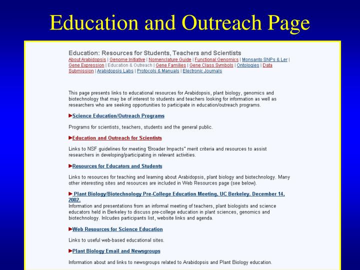 Education and Outreach Page