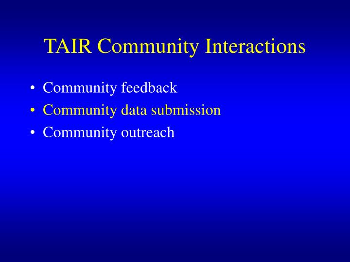 TAIR Community Interactions