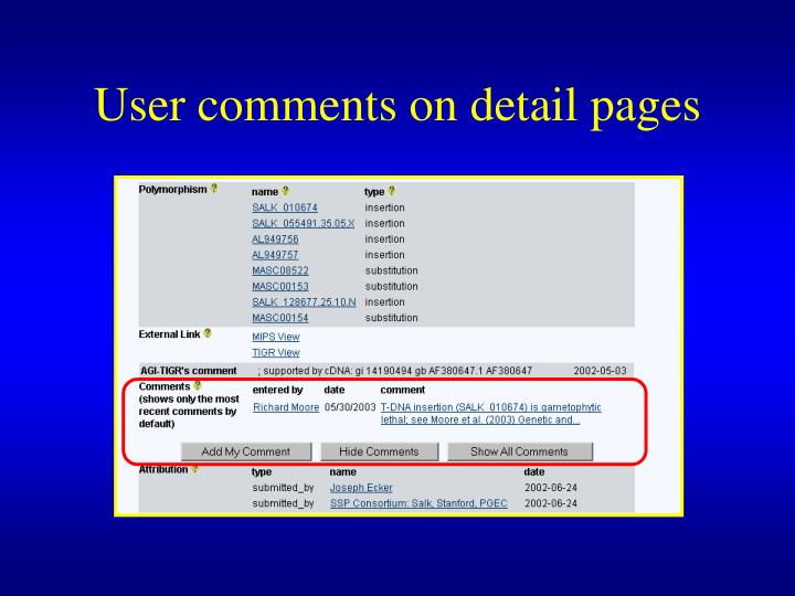 User comments on detail pages
