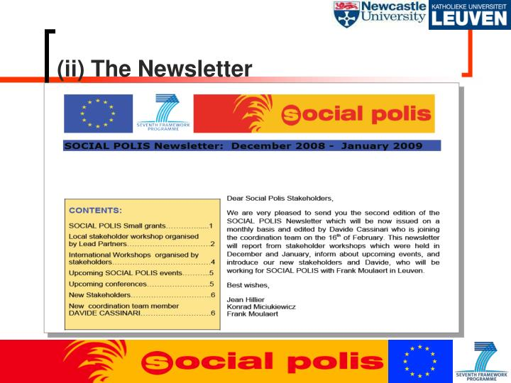 (ii) The Newsletter