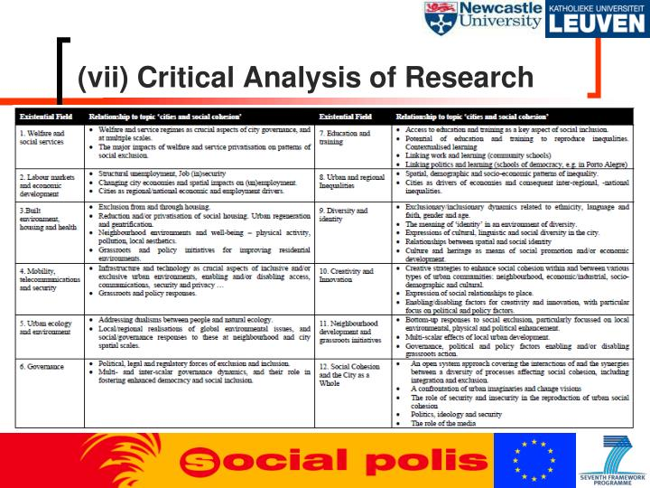 (vii) Critical Analysis of Research