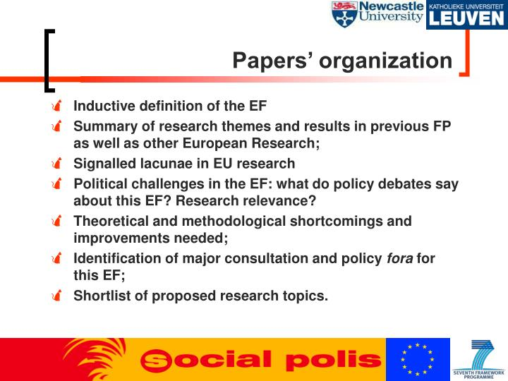 Papers' organization