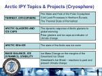 arctic ipy topics projects cryosphere