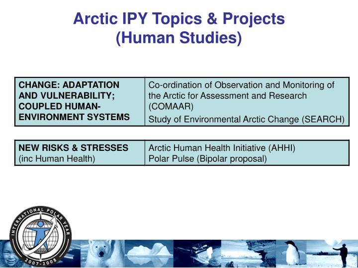 Arctic IPY Topics & Projects