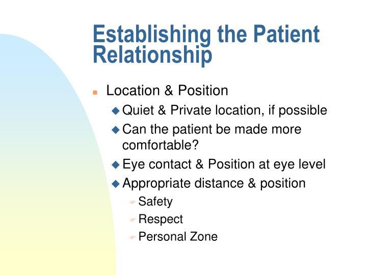 Establishing the Patient Relationship