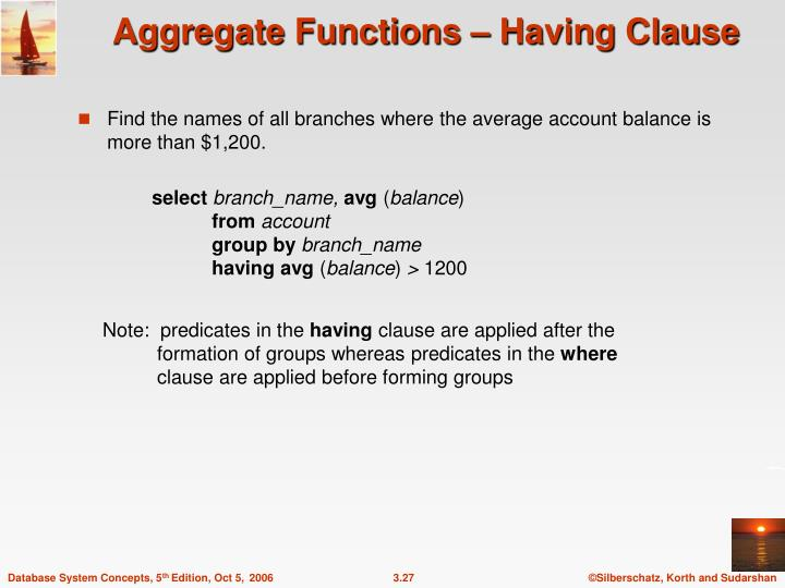 Aggregate Functions – Having Clause