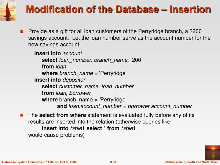 Modification of the Database – Insertion