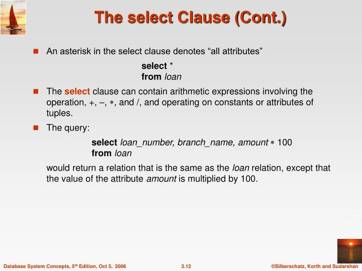 The select Clause (Cont.)