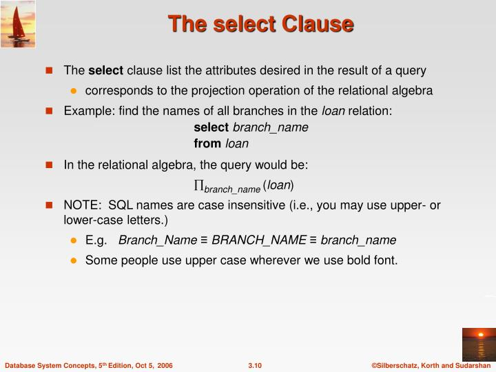 The select Clause