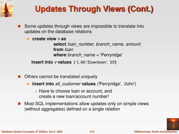 Updates Through Views (Cont.)