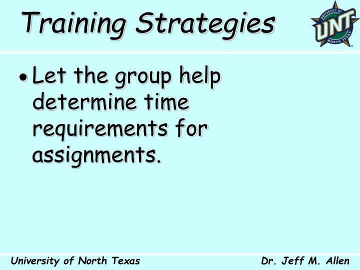 Training Strategies