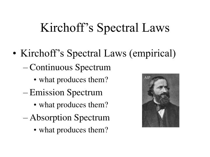 Kirchoff's Spectral Laws