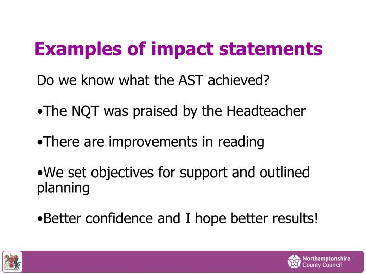 Examples of impact statements