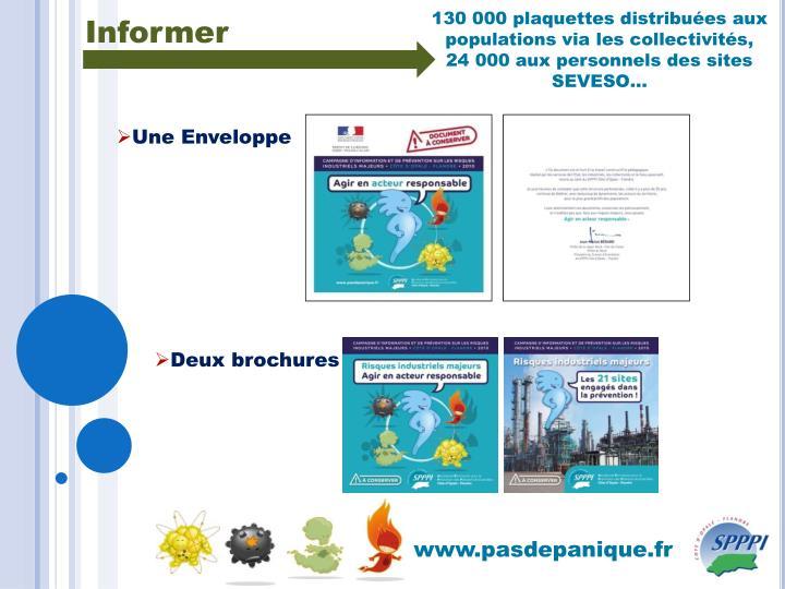 130 000 plaquettes distribuées aux populations via les collectivités,