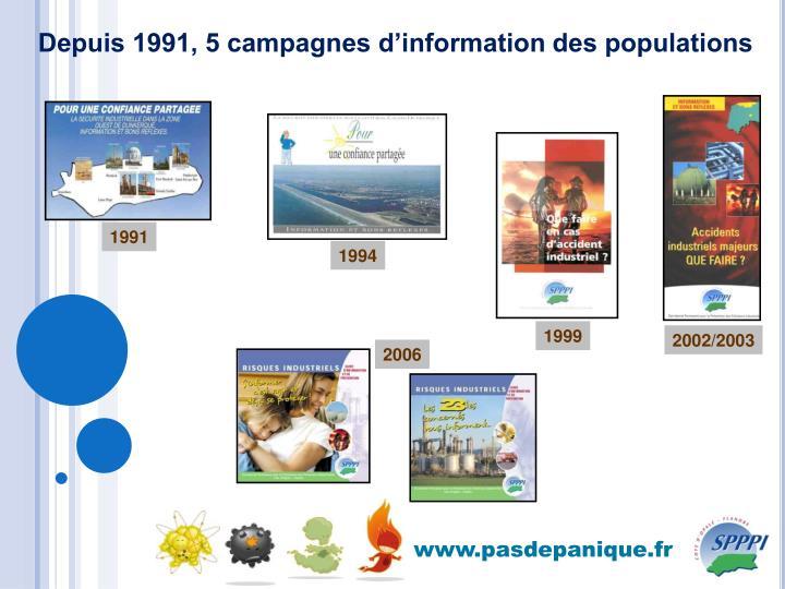 Depuis 1991, 5 campagnes d'information des populations