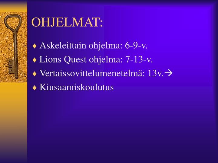 OHJELMAT: