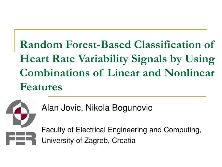 Random Forest-Based Classification of Heart Rate Variability Signals by Using