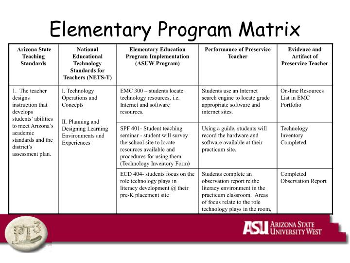 Elementary Program Matrix