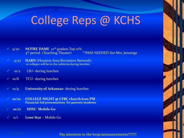 College Reps @ KCHS