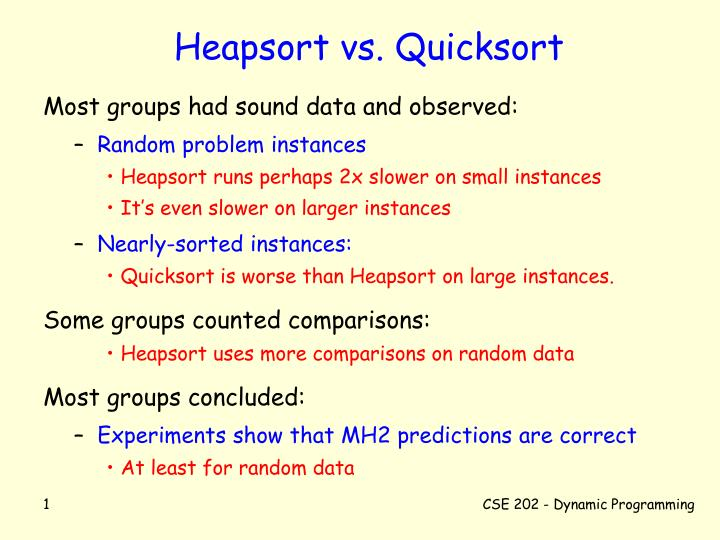 Heapsort vs quicksort