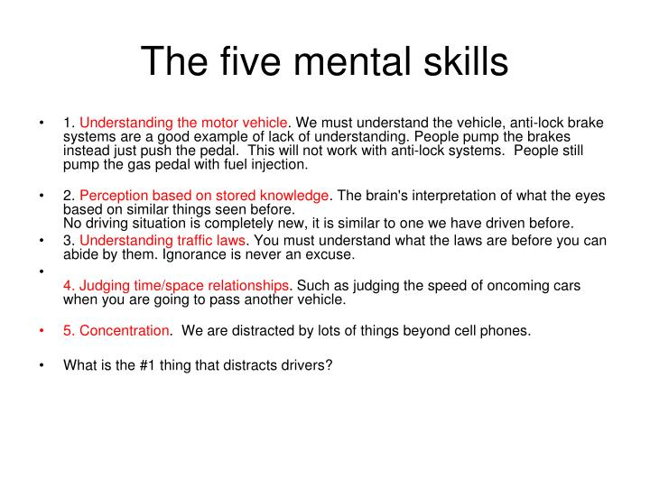 The five mental skills