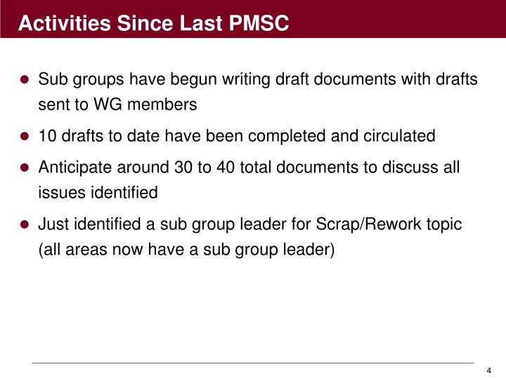 Sub groups have begun writing draft documents with drafts sent to WG members