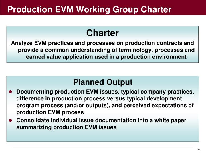 Production evm working group charter
