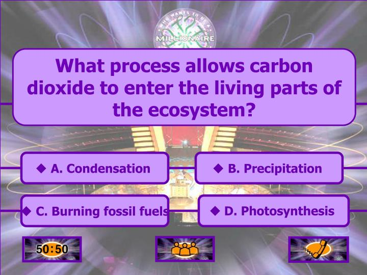 What process allows carbon dioxide to enter the living parts of the ecosystem?