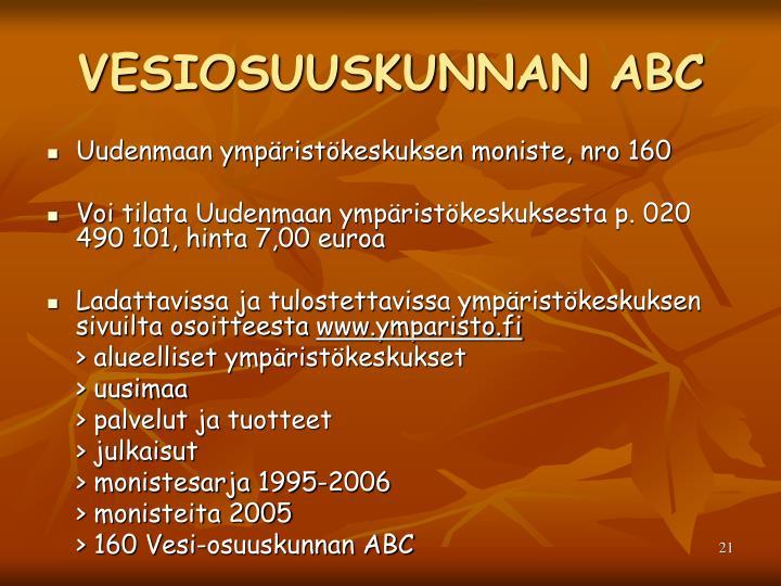 VESIOSUUSKUNNAN ABC