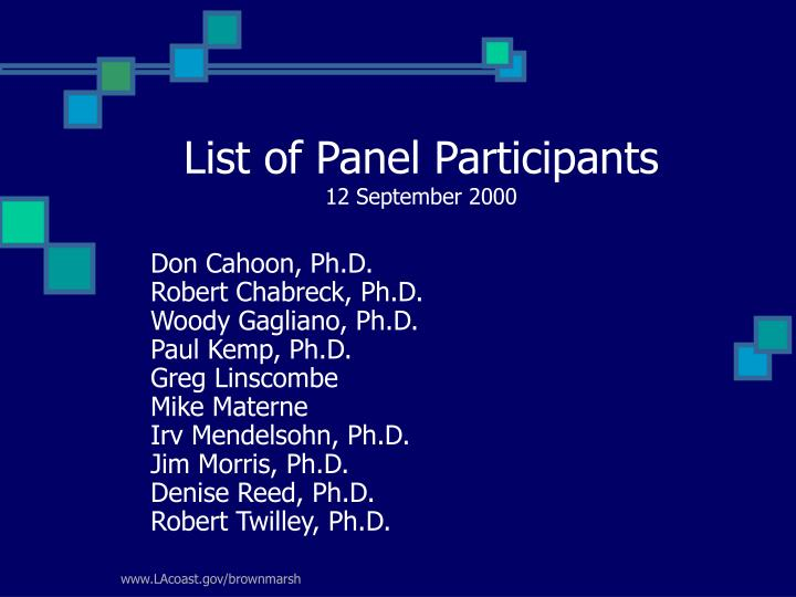 List of panel participants 12 september 2000