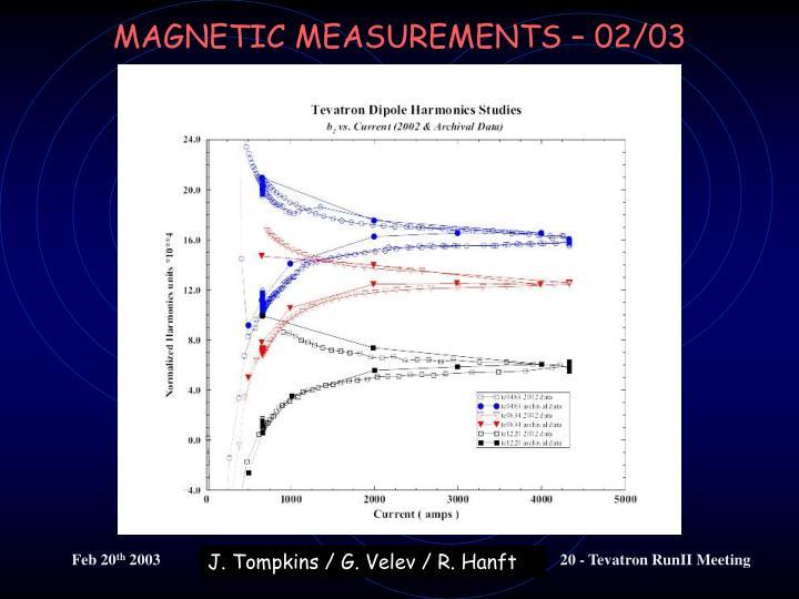 MAGNETIC MEASUREMENTS – 02/03