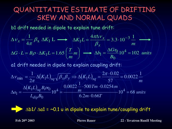 QUANTITATIVE ESTIMATE OF DRIFTING SKEW AND NORMAL QUADS