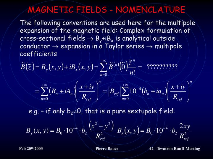 MAGNETIC FIELDS - NOMENCLATURE