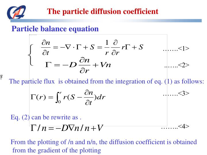 The particle diffusion coefficient
