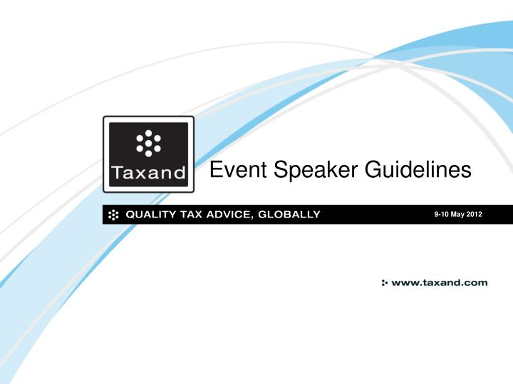 Event Speaker Guidelines