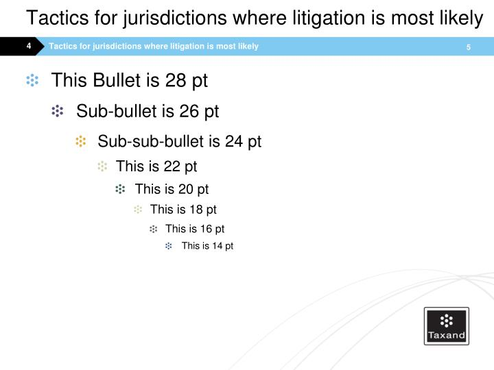 Tactics for jurisdictions where litigation is most likely
