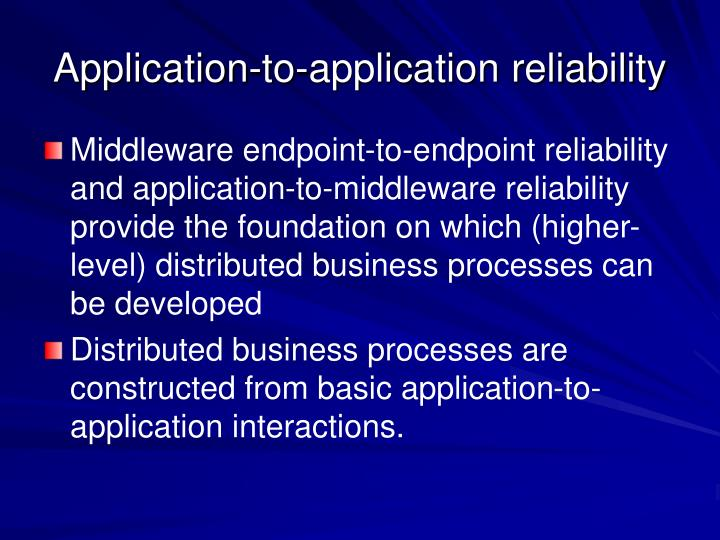 Application-to-application reliability